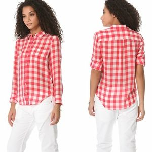 🎉Madewell Gingham Silk Boy Shirt Blouse🎉